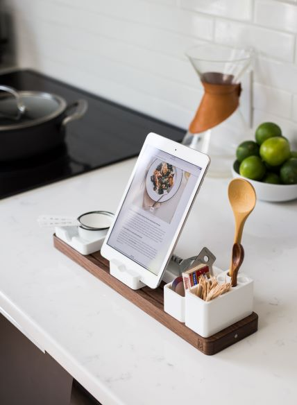 Docking Station for an iPad in the Kitchen Displaying Recipes
