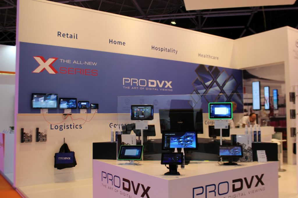 The ProDVX Producer of Wall Mounts and Kiosk Mounts for Tablets. Various Products Displayed on their Stand.