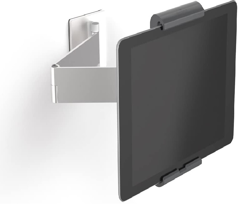 The extending arm wall mount made using aluminum mounted on a wall with an iPad