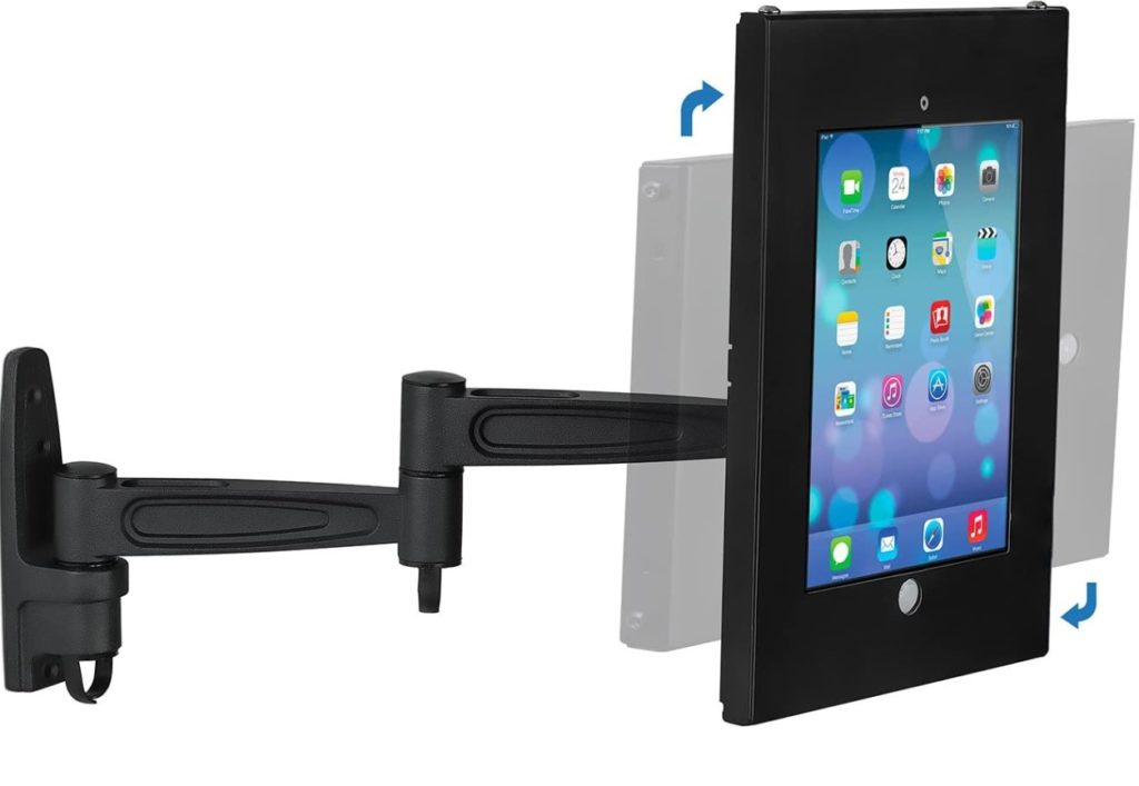 The swing arm of the Mount-it! wall mount with an iPad showing rotating directions