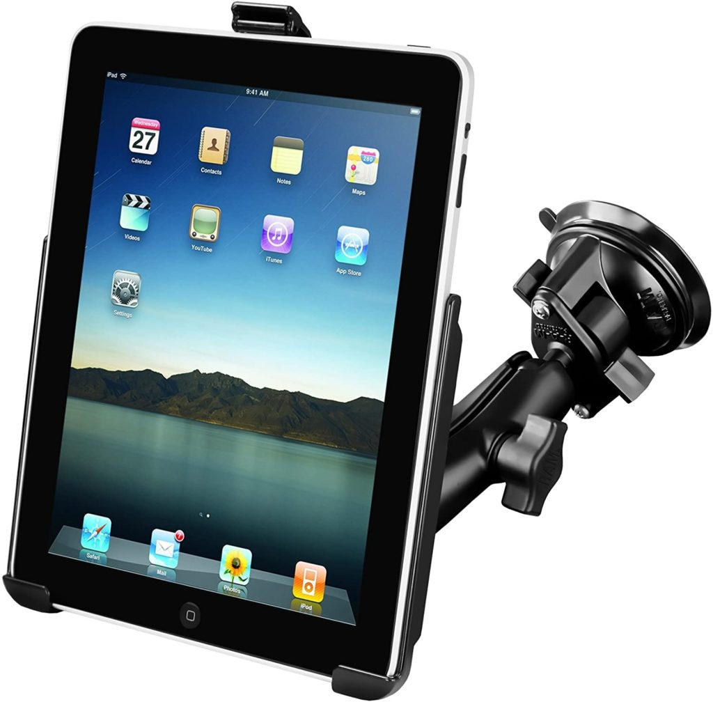 Ram suction mount for tablets on a windshield