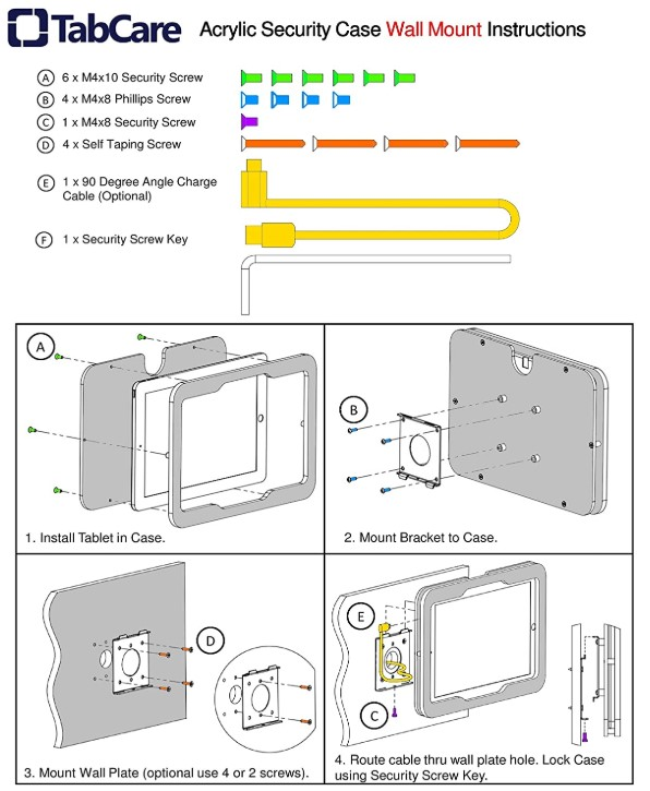 TABcare mounting instructions sheet for the VESA wall mount