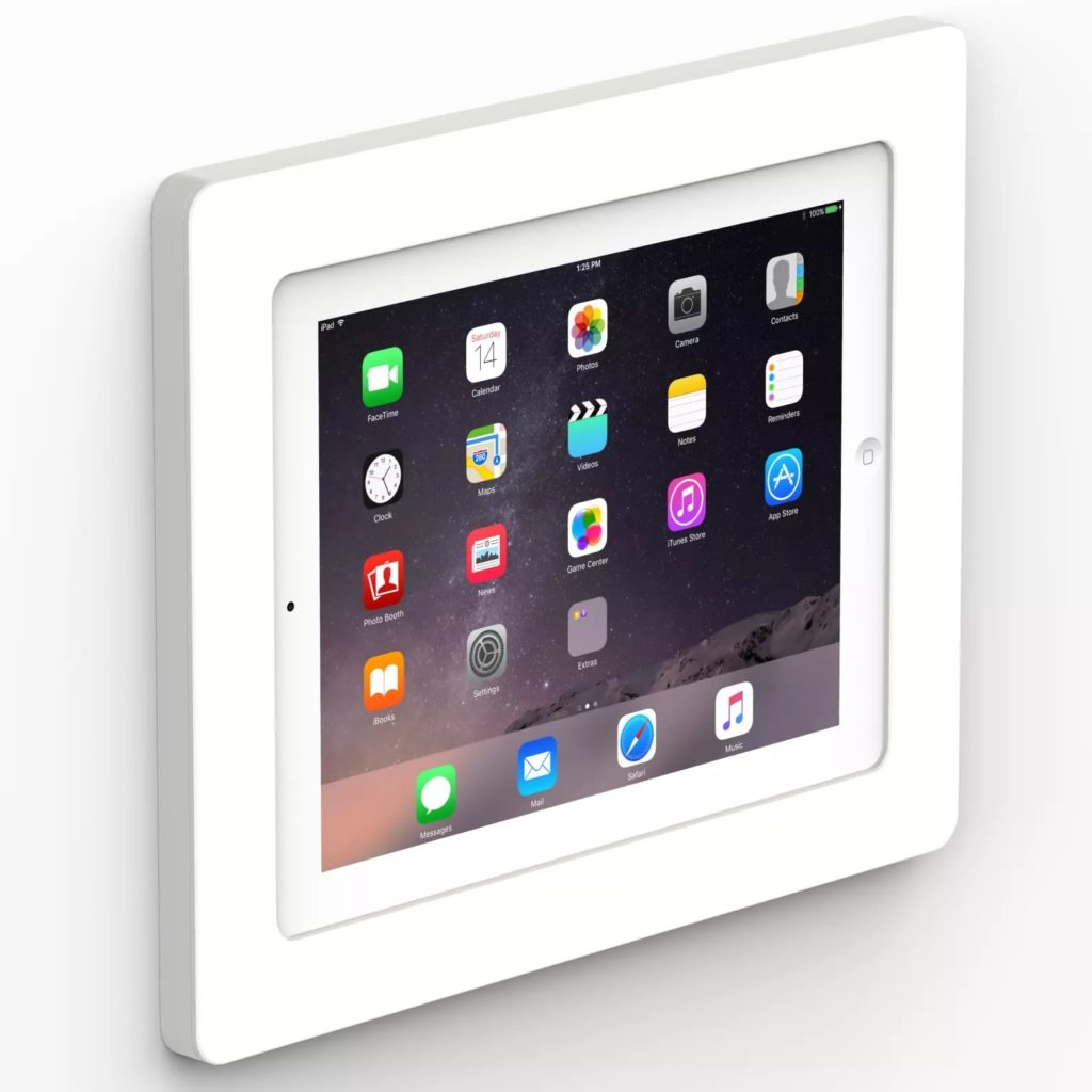 VidaMount White On-Wall enclosure on a white background with an iPad