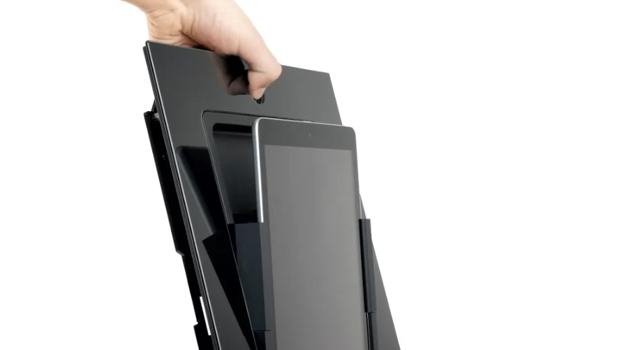 square mount with a hand pressing on the home button to release the iPad