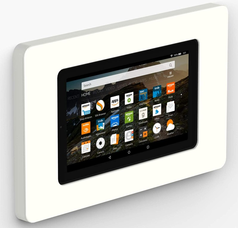 White wall mount installed on a wall with a Fire tablet