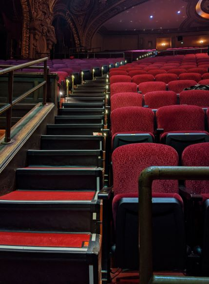 Red seats and stairs in the cinema