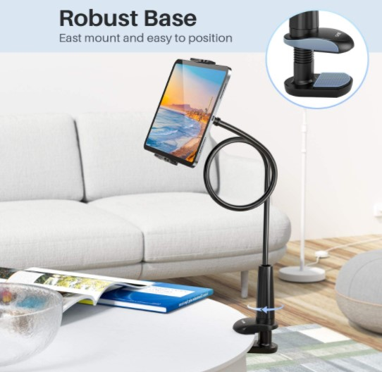 Tryone gooseneck tablet mount on a table in a living room